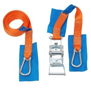 Fastening strap with ratchet for stair climbers mod