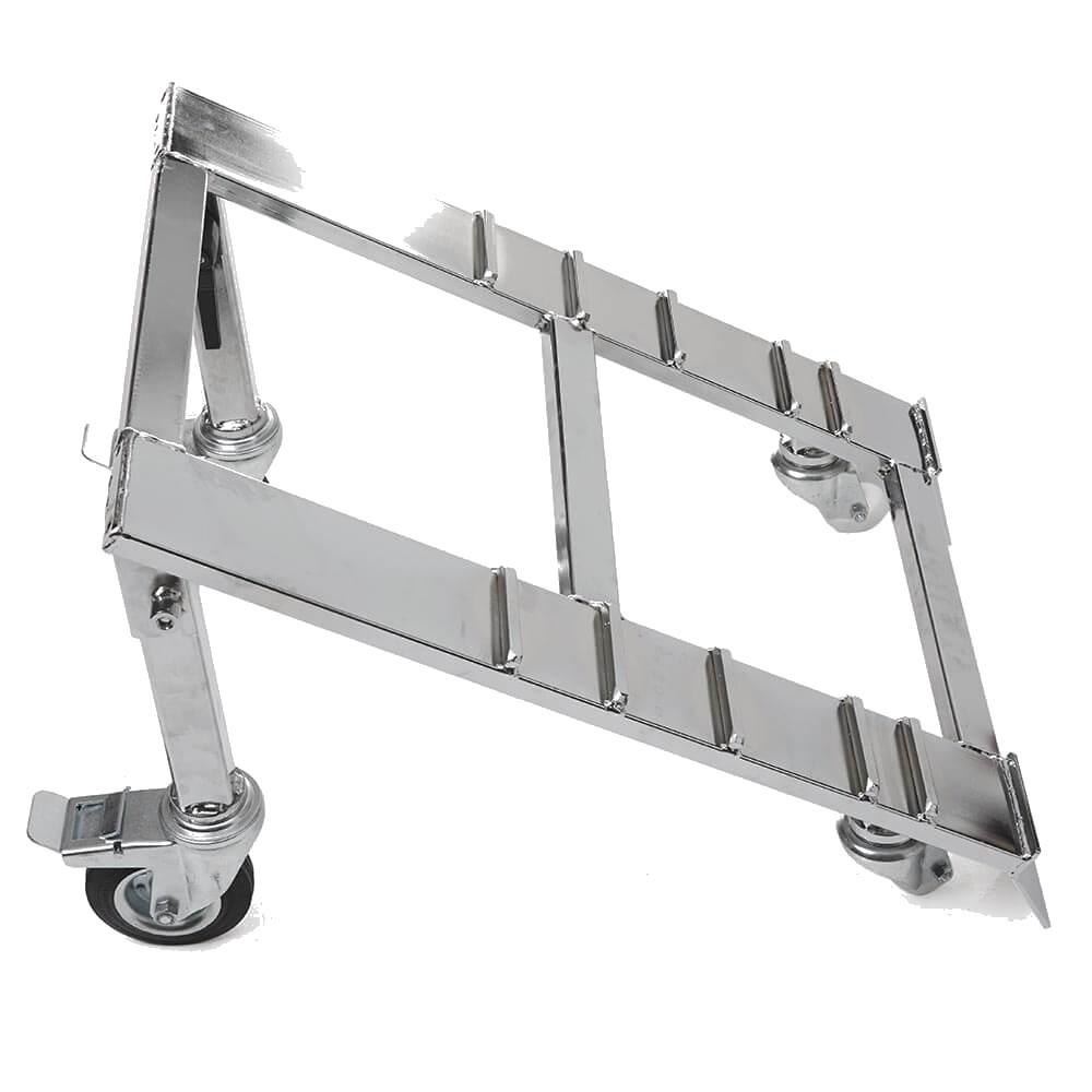 Le monte-escaliers Domino Automatic a une base inclinée avec 4 roues pivotantes